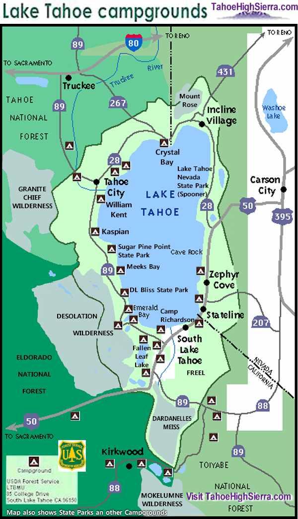 Lake Tahoe camping map by TahoeHighSierra.com