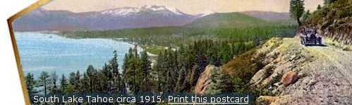 South Lake Tahoe antique postcard