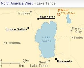 Map - Ski  areas near Lake Tahoe Nevada